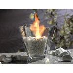 Asztali üveg négyszögletes biokandalló kövekkel