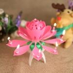 Zenélő gyertya -lótusz virág- tortadísz