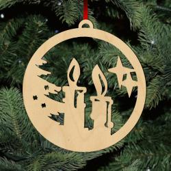 Fa karácsonyfadísz - gyertyák