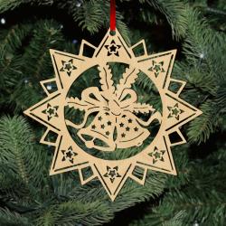 Fa karácsonyfadísz – Csillag harangokkal