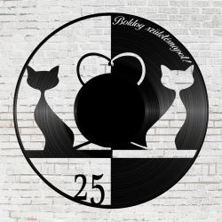 Bakelit óra - szerelmes cicák születésnapra