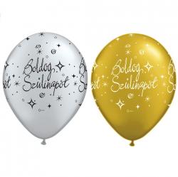 Boldog Szülinapot lufi - / arany - ezüst / héliumhoz