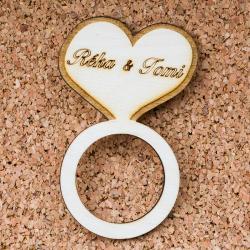 Esküvői köszönőajándék, szalvétagyűrű - Szív gyűrű
