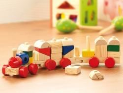 Építhető fa kisvonat gyerekeknek