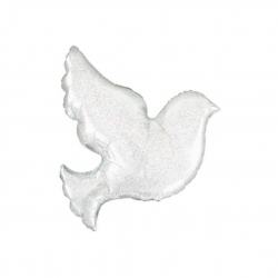 Galamb formájú, gyöngyház, hologrammos fólia lufi esküvőre