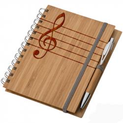 Bambusz füzet A5 + toll - Hangjegy