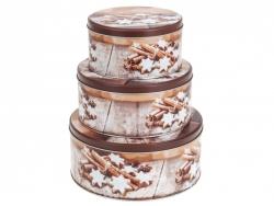 3 részes karácsonyi sütis fémdoboz