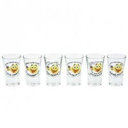 Smiley pálinkás pohár szett 6db