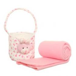 Plüss pléd táskával - rózsaszín