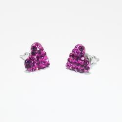 Swarovski szív köves bedugós fülbevaló - ametiszt szín