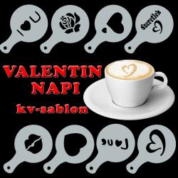 Kávé stencil Valentin-napra (8db)