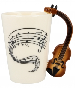 Zenész hegedű bögre
