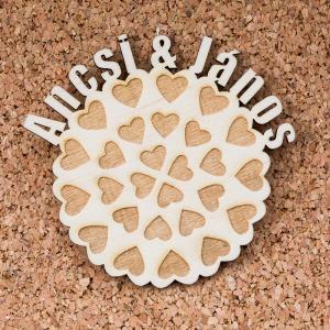 Esküvői köszönőajándék, poháralátét - Szívek
