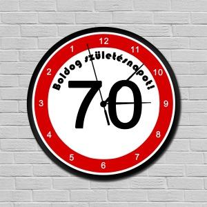 Fiatalító sebességkorlátozós falióra 70. születésnapra