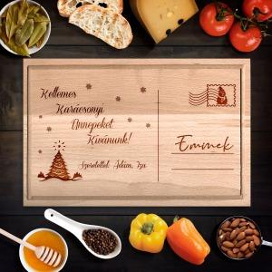 Karácsonyi üdvözlőlap egyedi vágódeszka