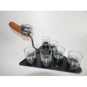 Fém kínáló kőműves kanál feles poharakkal