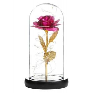 Fém örökrózsa üvegbúrában led-es - pink