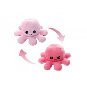 Plüss polip kifordítható vidám/mérges 20x9cm - rózsaszín-pink