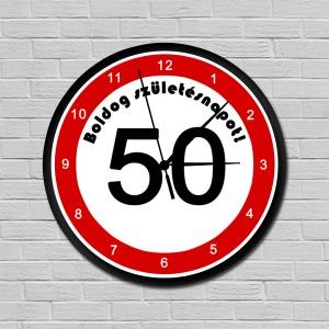 Sebességkorlátozós falióra 50. születésnapra