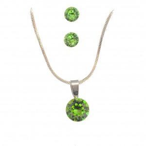 Swarovski ékszerszett kör (10mm) medállal - világos zöld