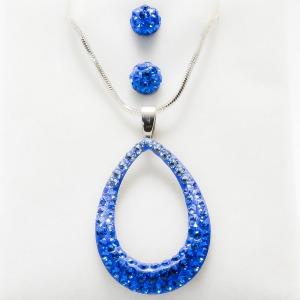 Swarovski ovális medál, fülbevaló szett - kék kövekkel