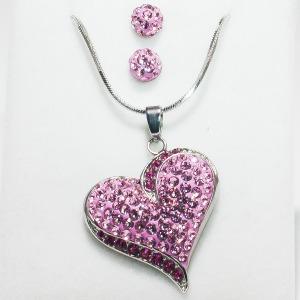 Swarovski szív medál, fülbevaló szett - rózsaszín köves + AJÁNDÉK díszdoboz