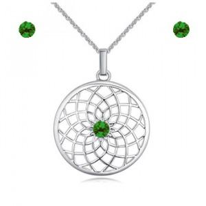 Swarovski kristályos tavirózsa nyaklánc szett - zöld