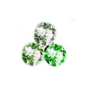 Swarovski kristályos 3 köves bedugós fülbevaló 10 mm - zöld