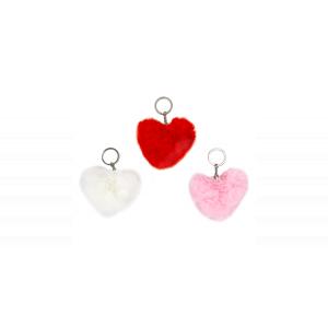 Kulcstrató pompom - szív