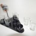 Fém kínáló kűmőves kanál felespoharakkal